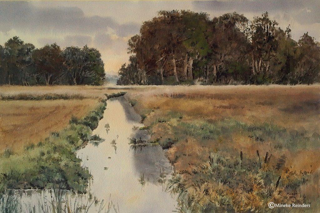 """The Dawn - De Dageraad"" Watercolor, 36x54 cm (14x21 inches), 2016 Location: Deurzerdiep near Deurze, the Netherlands"