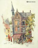 Nijmegen Corner Cafe Ink and Watercolor