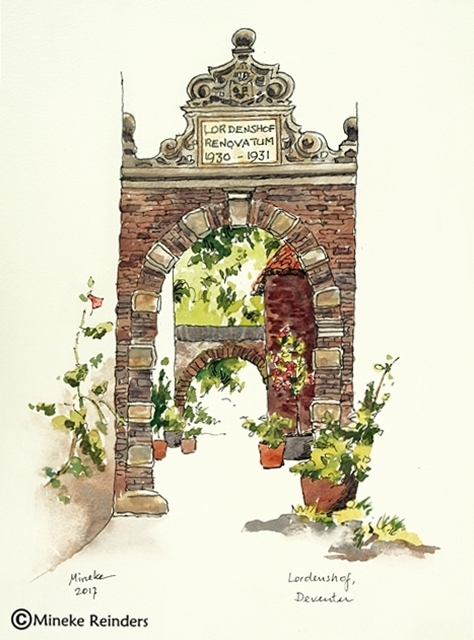 Deventer Lordenshof Watercolor and Ink