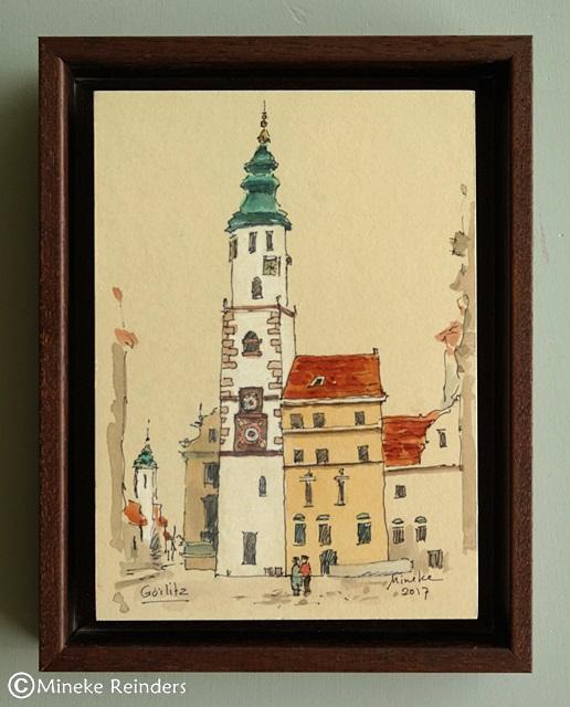 art-minekereinders-ink-watercolor-görlitz-framed