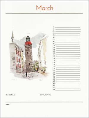 birthday calendar march