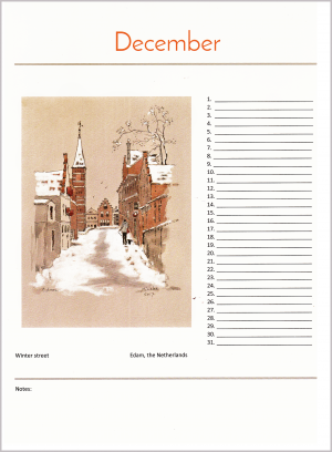 birthday calendar december