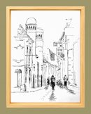 Ink drawing-groningen-inktober-framed