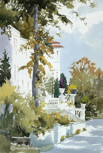 2018-080418-art-minekereinders-watercolor-white-house-with-tree-bielefeld