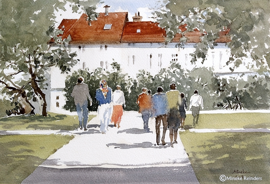 Mineke Reinders Sunday Walk Watercolor Bielefeld