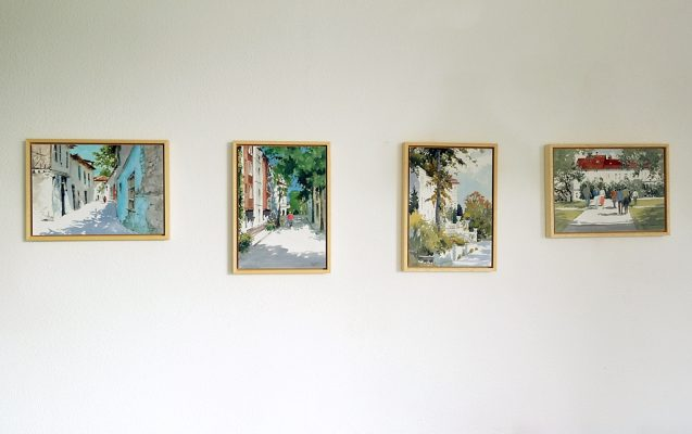 Four framed watercolors