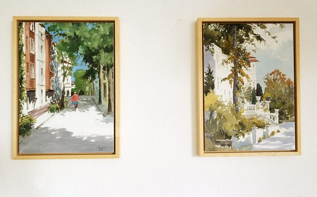 Two watercolors framed