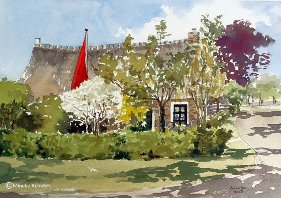 Old House with Red Flag