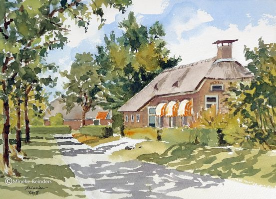 Old Farmhouse with Orange Awnings
