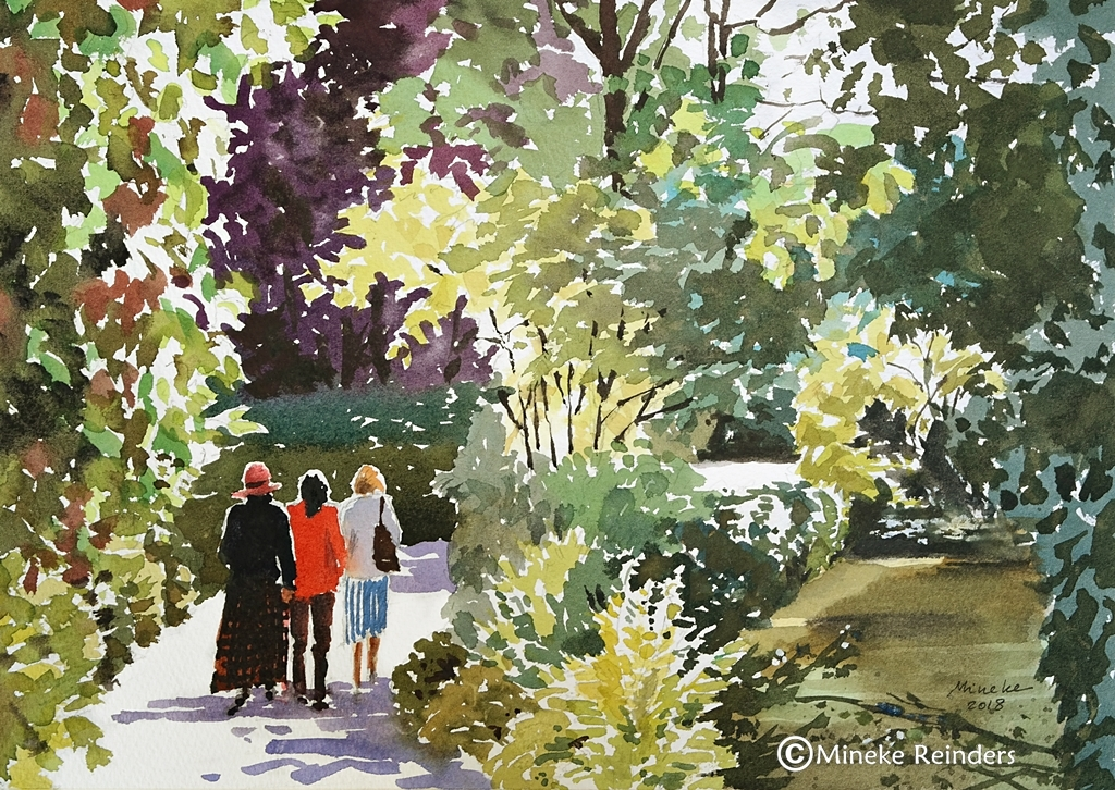 Mineke Reinders watercolor Walk in the Park