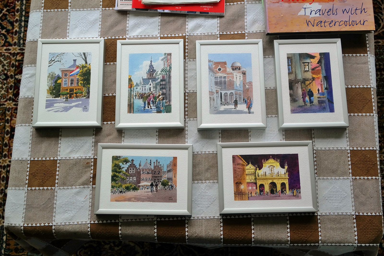 Visitekaartjes - all six framed