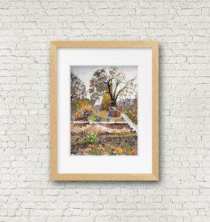 Autumn garden frame mockup