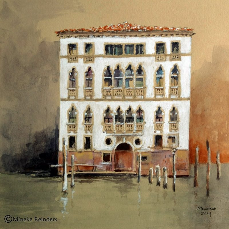 Palazzo Garzoni, Venice - pencil, watercolor and gouache on toned paper