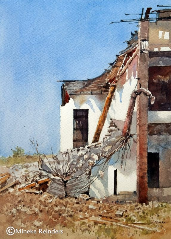 Demolition: watercolor on paper