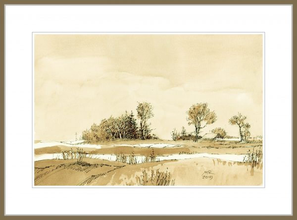 mineke reinders - ink and watercolor - winter silence - framing suggestion