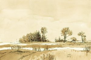 mineke reinders - ink and watercolor - winter silence