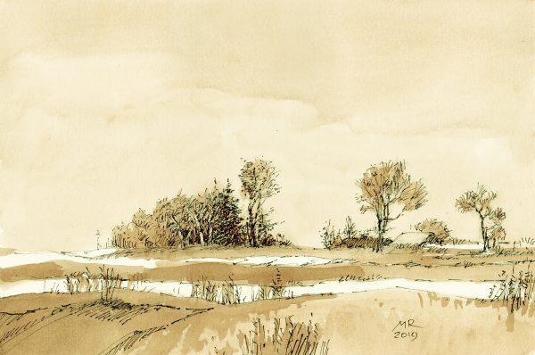 mineke reinders - ink and watercolor - winter silence