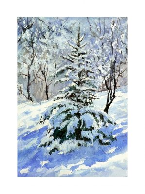 Mineke Reinders watercolor winter snow Ankara Merry Christmas