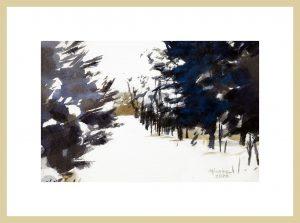 Mineke Reinders Watercolor: Snowbound. 2020