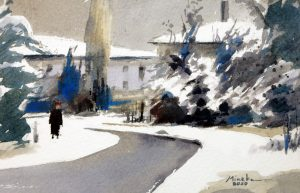 Mineke Reinders Watercolor: Winter Blues. 2020