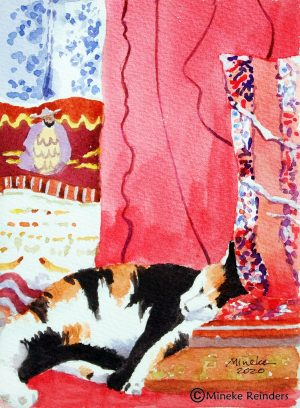Cat Nap Mineke Reinders Watercolor 2020