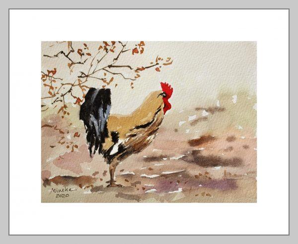Rooster Mineke Reinders Watercolor 2020