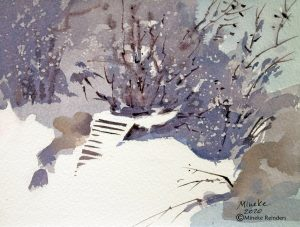 Snow Steps III Mineke Reinders Watercolor 300820
