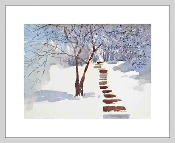 Snow Steps I Mineke Reinders Watercolor 200820